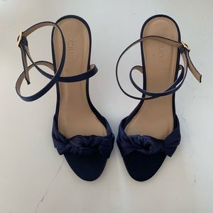 Jcrew Navy blue satin high heels
